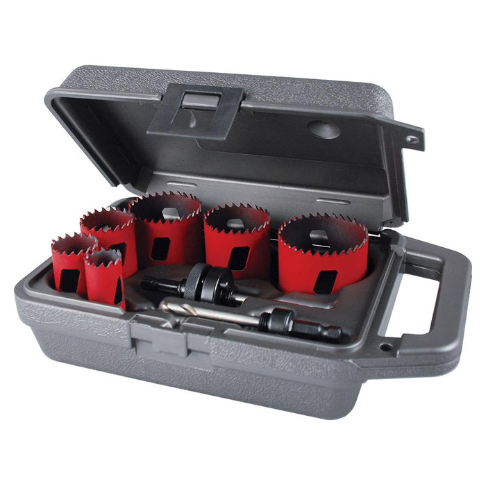 8 pc. Electricians Hole Saw Kit, Bimetal w/arbor