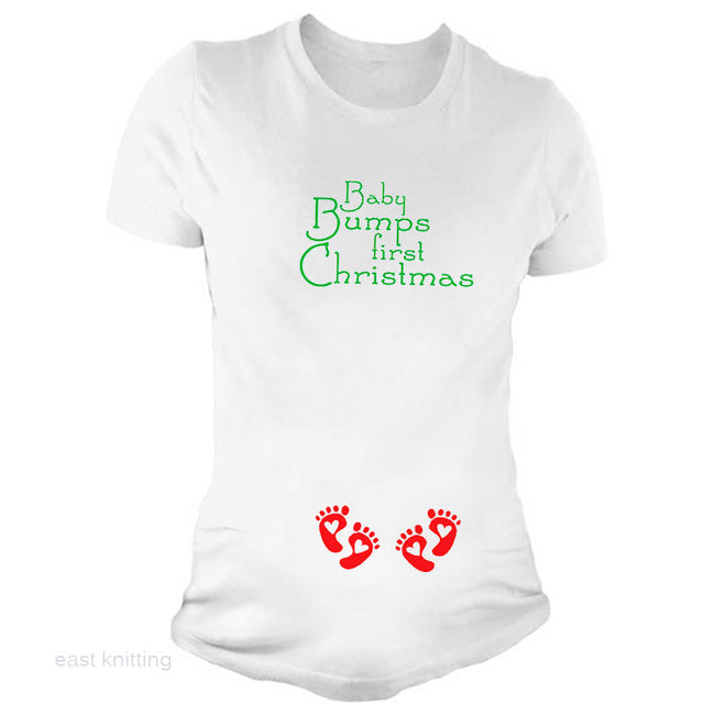 YF0002 New Fashion Women Twins Baby Bumps Funny First Christmas Maternity T  shirt