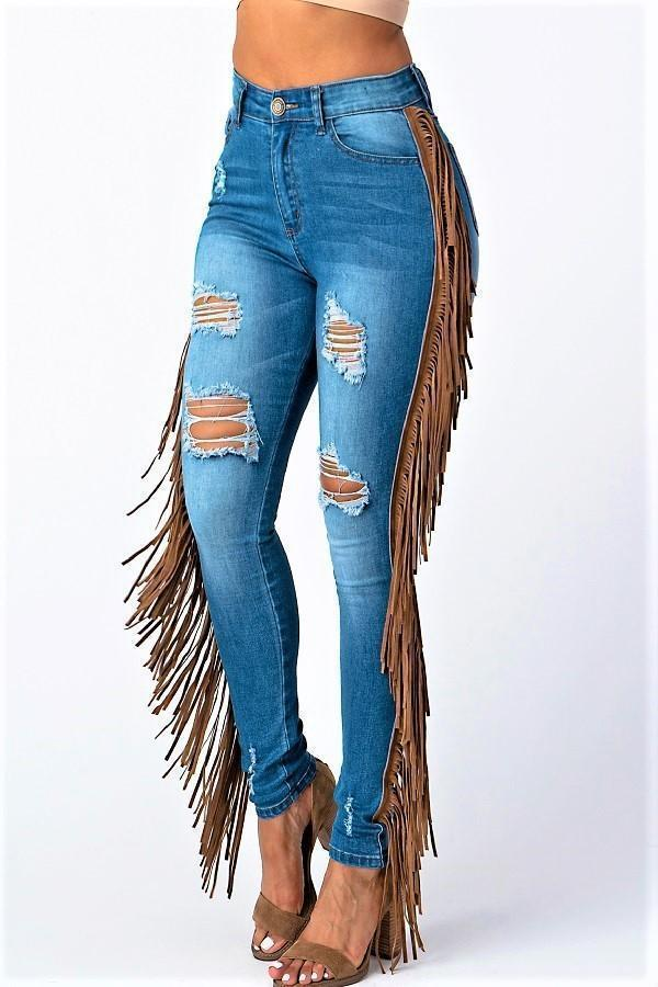 HAY OR HATERS FRINGE JEANS