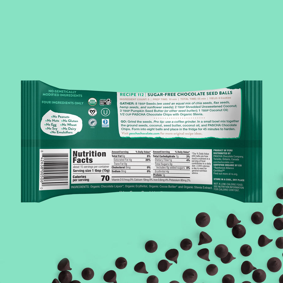70% Cacao Organic Vegan Bitter-Sweet Dark Chocolate Chips with Organic Stevia (8.0oz) - Sugar-Free & Keto Friendly