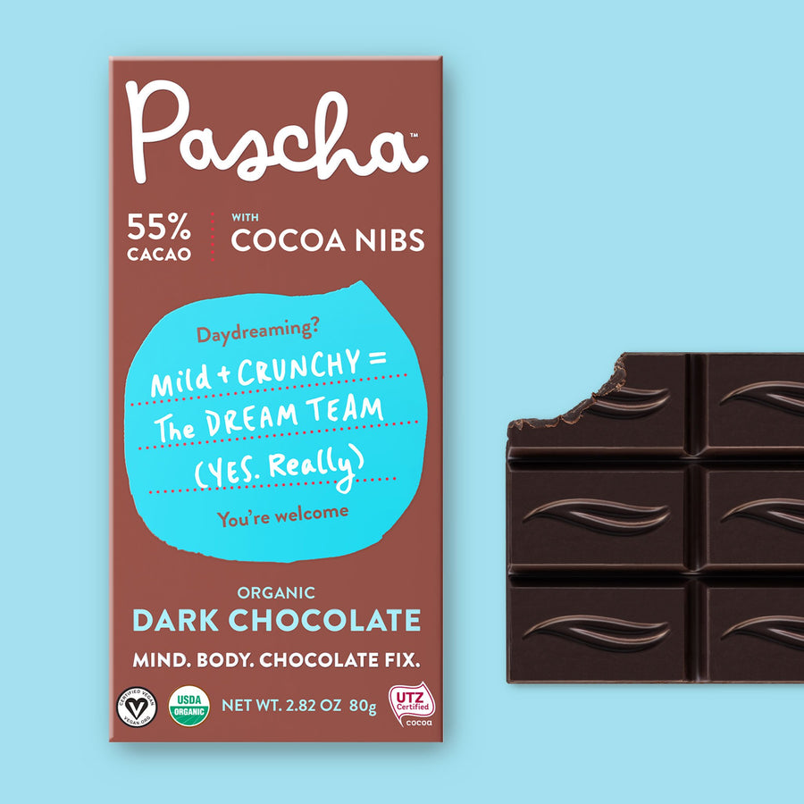 55% Cacao Organic Dark Chocolate Bar with Cocoa Nibs (2.8 oz)