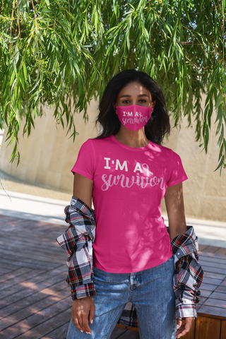 I'm A Survivor Tee/Mask Combo, Breast Cancer Survivor Gift Set,