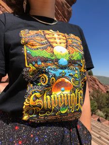 "Red Rocks ""Garden of Unearthly Delights"" Black T-Shirt"