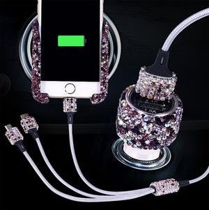 Bling Bling Dual USB +Universal Car Phone Holder+Three in one data cable