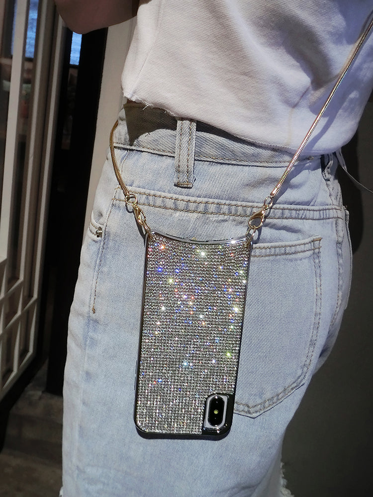 Shiny iPhone Case equipped with detachable long chain strap