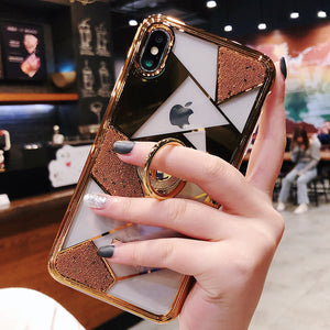 2019 New High Quality Diamond Case for iPhone with Ring and Lanyard