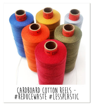 Cardboard cotton reels - one way that AntiCraft has made a positive change in their business to reduce waste and use less plastic. Read their blog about other environmental changes they've made.