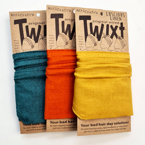 Plain and solid colour do rag collection in beautiful cotton and linen ranges - Wired head wraps from AntiCraft - making a bad hair day good and a good hair day even better!
