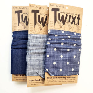 Denim and blue jeans do rag collection range - Wired head wraps from AntiCraft - making a bad hair day good and a good hair day even better!