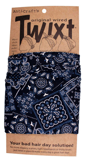 Bandana Print on Navy Blue - Twixt / Wired Head Wrap