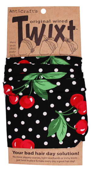 Cherry & Spots on Black - Twixt / Wired Head Wrap