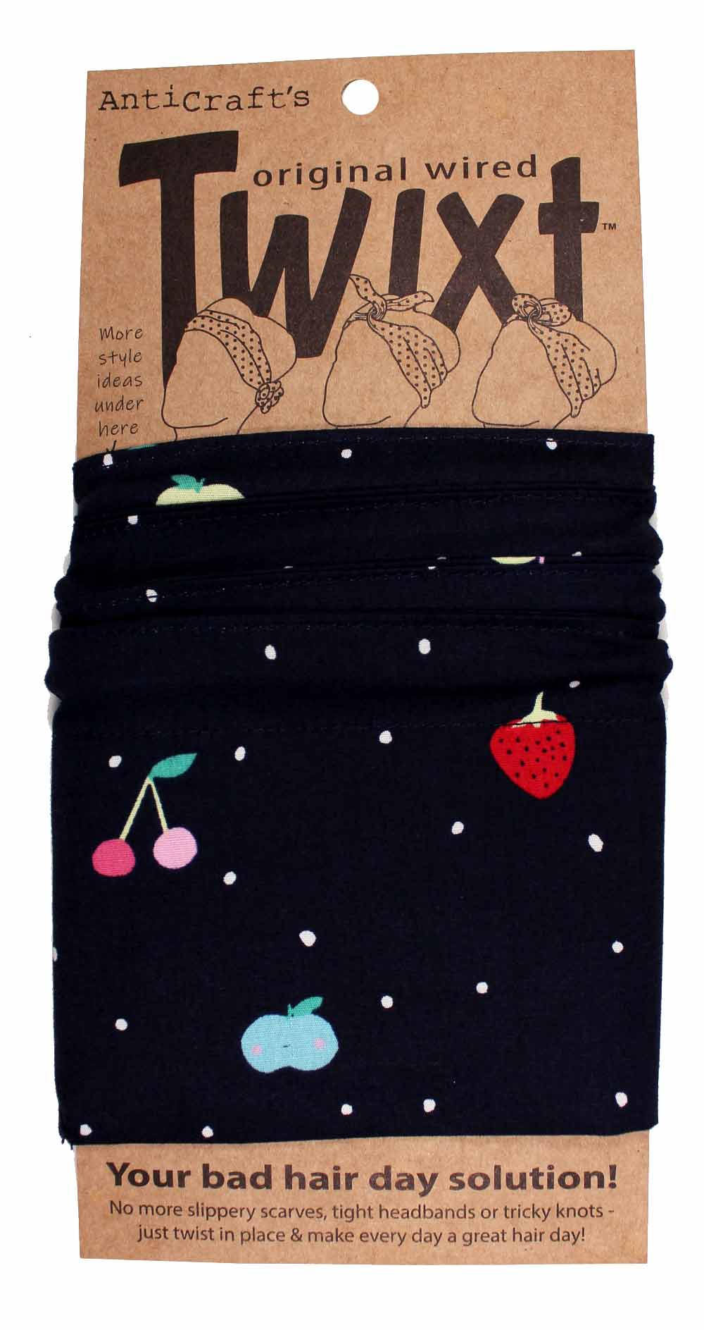 Cute Fruit on Navy Spots - Twixt / Wired Head Wrap