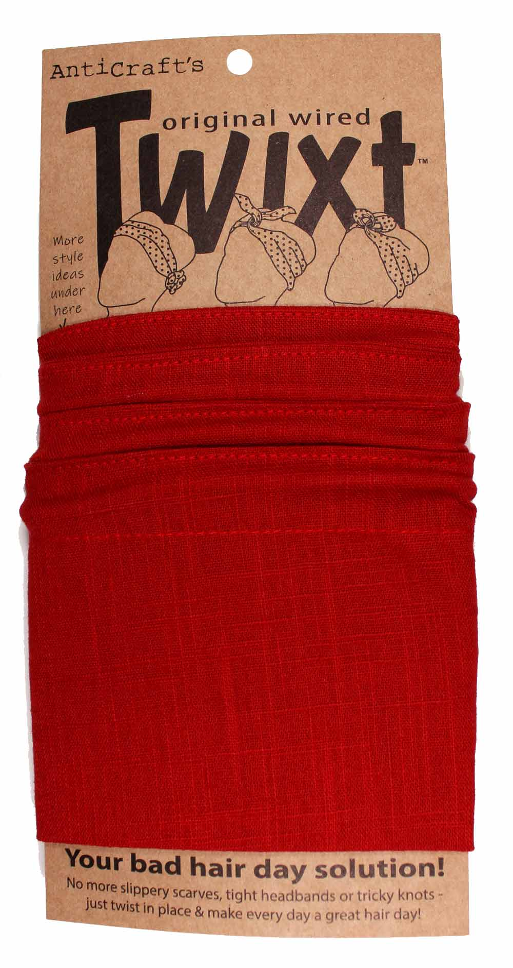 Plain Red Cotton - Twixt / Wired Head Wrap