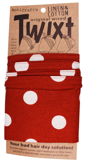 Rust Orange Spots on Linen - Twixt / Wired Head Wrap