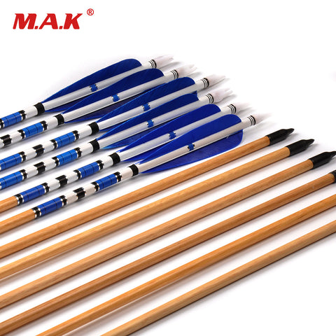 6/12/24 pcs Traditional Handmade Wooden Arrow 78cm Archery Blue Feather Black Broadheads for Longbow Training Supplies wholesale