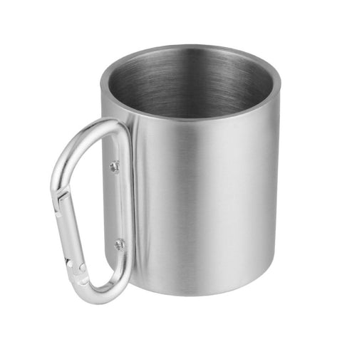 Outdoor Stainless Steel Water Tea Coffee Mug Self Lock Carabiner Handle Cup For Camping Hiking Climbing Portable