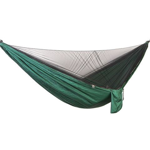 290x140CM Portable Nylon Double Hammock with Bed Net for Outdoor Camping (Atrovirens)