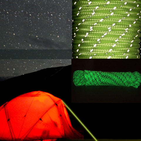 10M Luminous Glow in the Dark Reflective Tent Rope Camping Cord