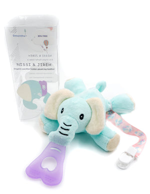 5 in 1 Organic Teething Toy and Detachable Pacifier Holder, Elephant - nissi-jireh