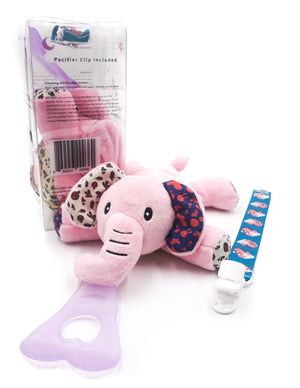 5 In 1 Teething Toy and Detachable Pacifier Holder, Pink Elephant - nissi-jireh