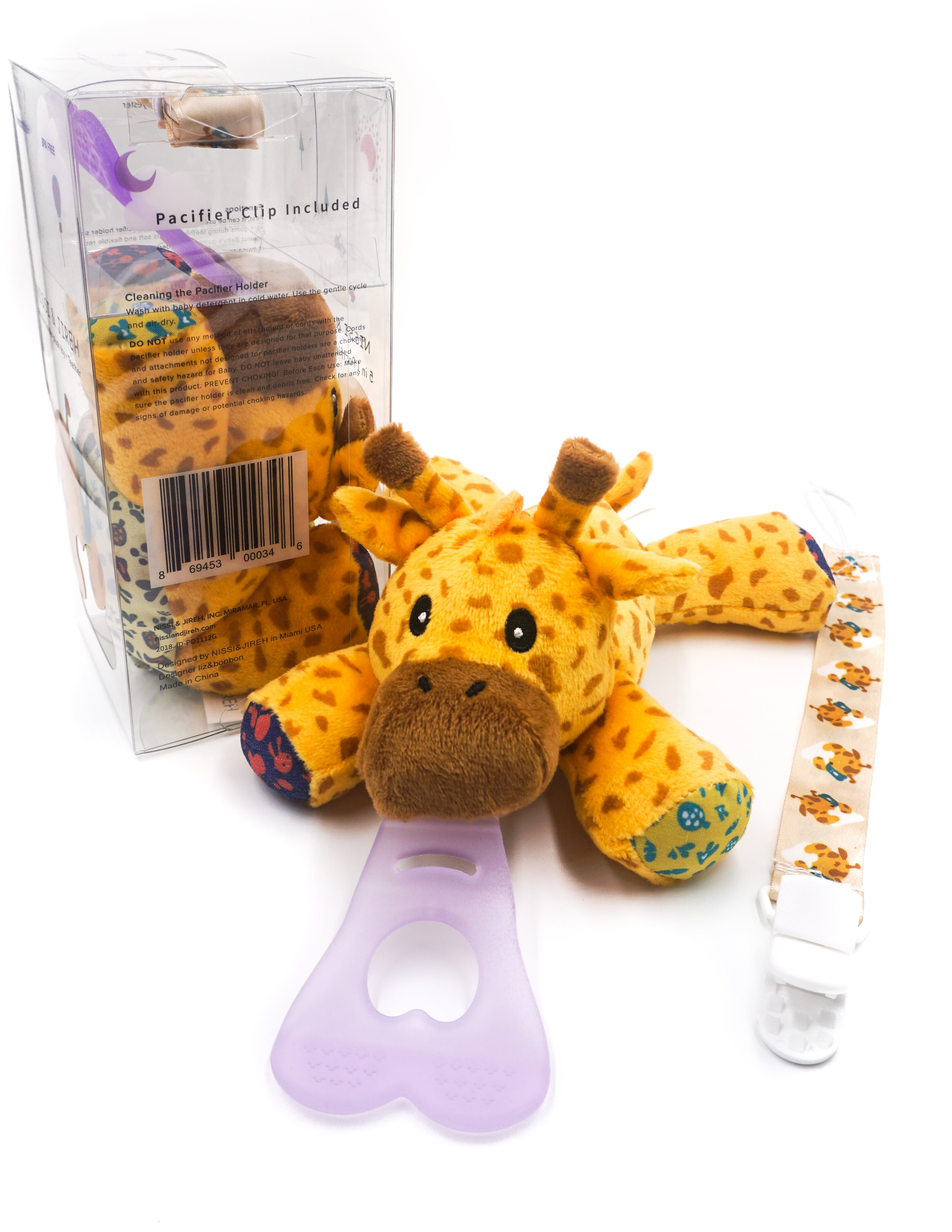 5 In 1 Teething Toy and Detachable Pacifier Holder, Giraffe - nissi-jireh