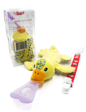 5 In 1 Teething Toy and Detachable Pacifier Holder, Duck - nissi-jireh