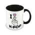 K-POP - I Love K-POP Black Coloured Inner šalica