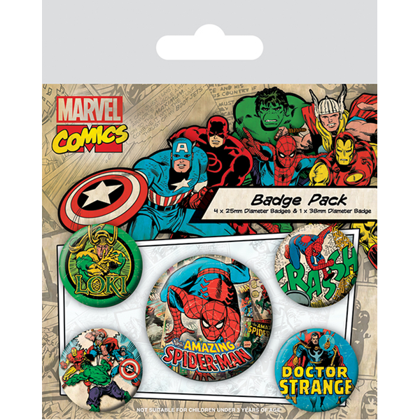 Marvel - Retro (Spider-Man) set bedževa
