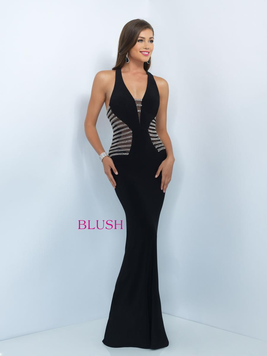 Blush Size 6 - Black with Shimmering Detail Evening Gown