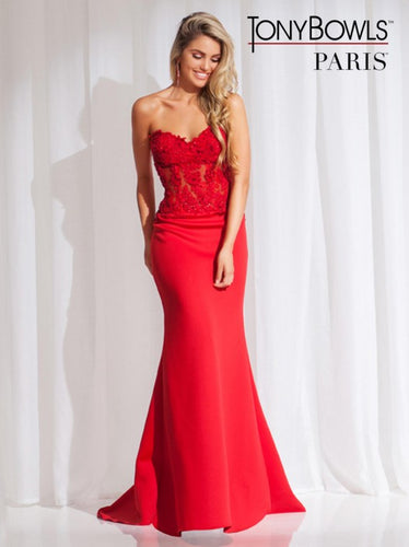 Tony Bowls Size 8 Strapless Red Floor Length Gown