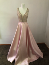 Load image into Gallery viewer, Jovani Size 16 - Blush Pink V Neck Embellished Gown