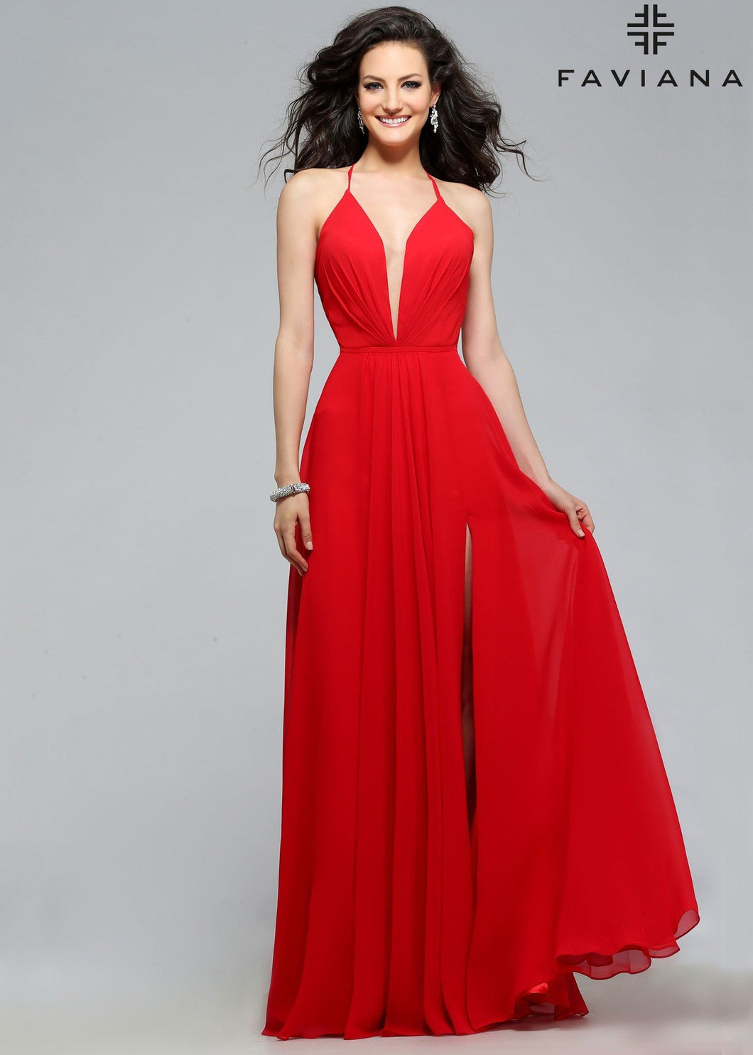 Red Strappy Faviana Dress Size 00