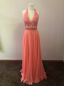 Alyce Size 6 Blush Pink Halter Top Open Back Gown