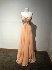 Tony Bowls Size 00 Light Coral Sweetheart Beaded Keyhole Ruched Prom Dress