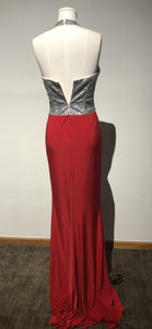 Blush Size 2 - Red with a Silver Bejeweled Halter Top Floor Length Gown