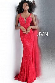 Red Jovani Floral Embroidery Dress Size 2