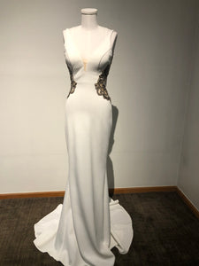 Faviana Size 2 - Ivory Low Cut Back Gown