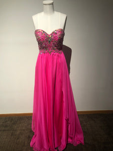 Hot pink prom dress Alyce Size 0