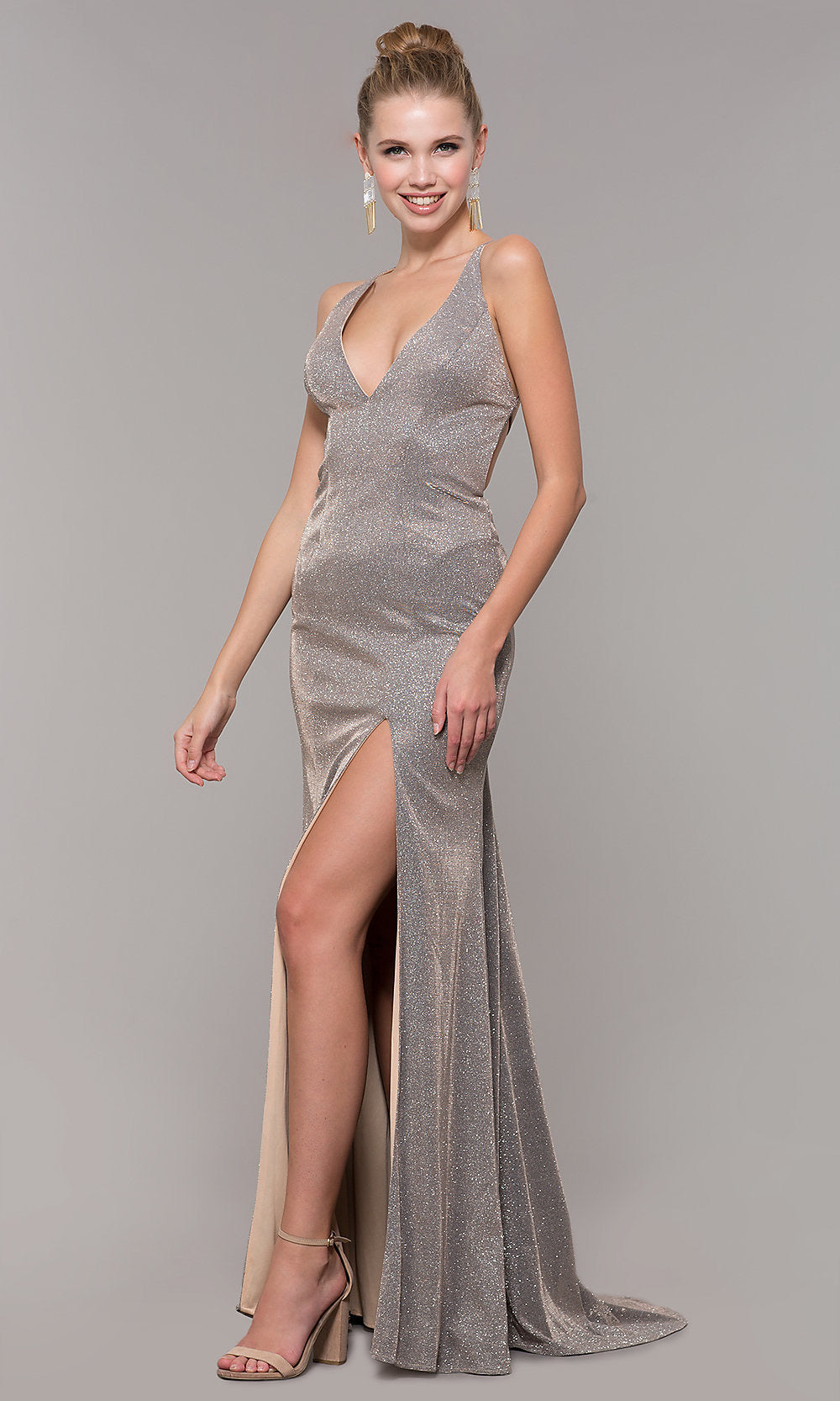 Clarisse Plunging Halter V-Neck Trumpet Dress Royal & Mink