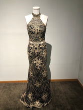 Load image into Gallery viewer, Dave & Jonny Size 2 - Gold and Black Lace Two Piece Prom Dress