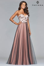 Load image into Gallery viewer, Faviana Size 6 Gray and Blush Floral Embroidered Gown