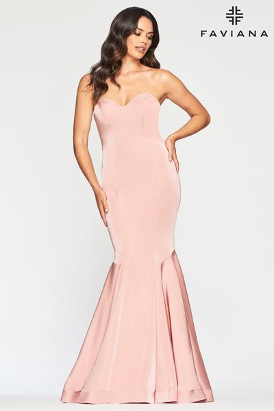 Faviana Size 2 Dusty Pink Strapless Gown