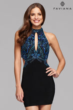 Load image into Gallery viewer, Faviana Black and Blue Dress Size 6