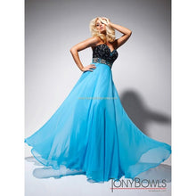 Load image into Gallery viewer, Tony Bowls Black and Blue Prom Dress Size 8