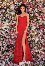 Load image into Gallery viewer, Clarisse Size 6 - Red Lace Sweetheart Neckline High Leg Slit Gown