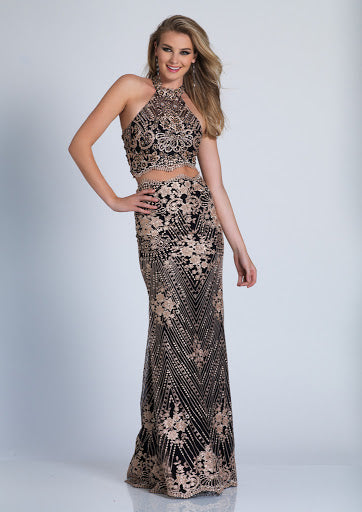 Dave & Jonny Size 2 - Gold and Black Lace Two Piece Prom Dress