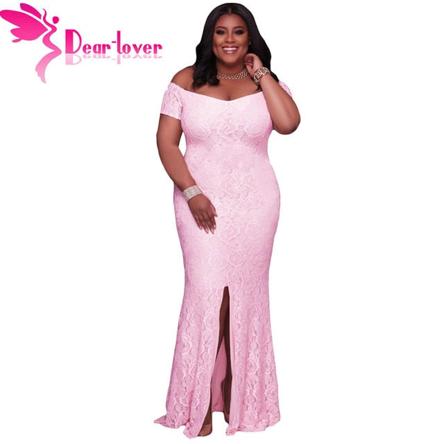 Off Shoulder Maxi Dress Pink Lace Party Gown