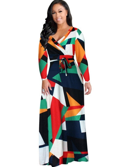 Plus Size Women's Maxi Geometric Pattern Dress