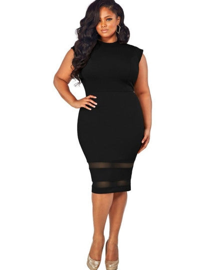 Plus Size Patchwork Women's Bodycon Dress