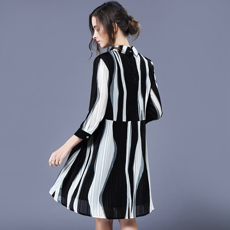Black Striped Chiffon Dress